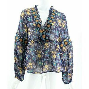 Meadow Rue Navy Sheer Floral Embroidered Blouse LP